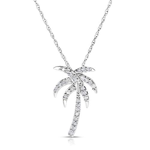 tw Genuine Diamond Palm Tree Pendant in Sterling Silver ()