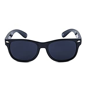 MommysJoy Silicone Flexible Kids Polarized Sunglasses for Boys Girls Children Age 1-10 Yr (Pure Black)