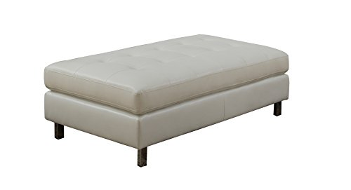 NHI Express 71010-33WT Logan Collection Ottoman by Nathaniel Home- Bonded Leather, White Color, - Collection Bonded Leather