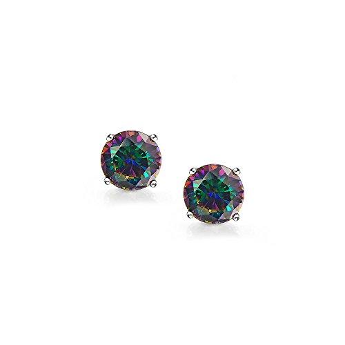 Bling Jewelry Boucles d'oreille ronds pierre arc en ciel avec fermoir a clou