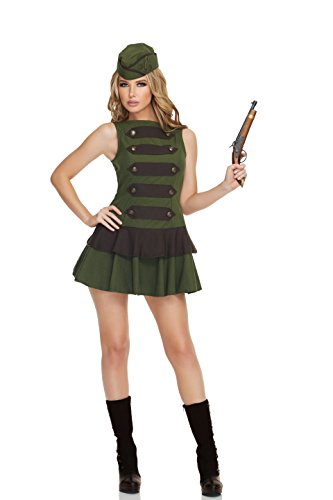 Mystery House Women's Steampunk Soldier, Green/Black, Medium (Sexy Soldier Costumes)