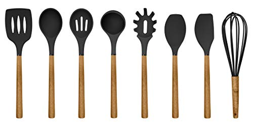 (Country Kitchen 8 pc Non Stick Silicone Utensil Set with Rounded Wood Handles for Cooking and Baking - Black)