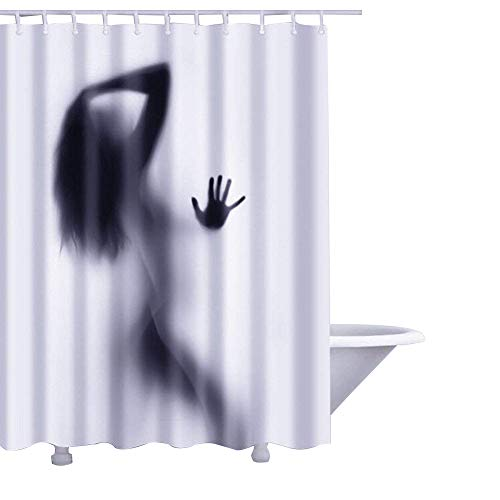 QEES Sexy Naked Pin-Up Lady Shower Curtain, Waterproof Durable Polyester Fabric Bath Curtain with Free Hooks W:60