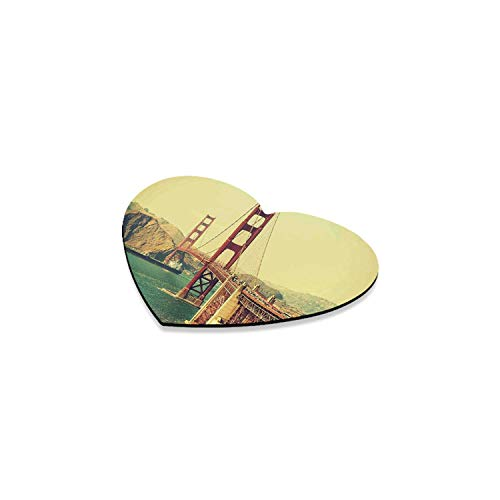 3.25 Inch Suspension - Vintage Romantic Heart Coaster,Old Film Featured Golden Gate Bridge Suspension Urban Path Construction Scenery for Home,4