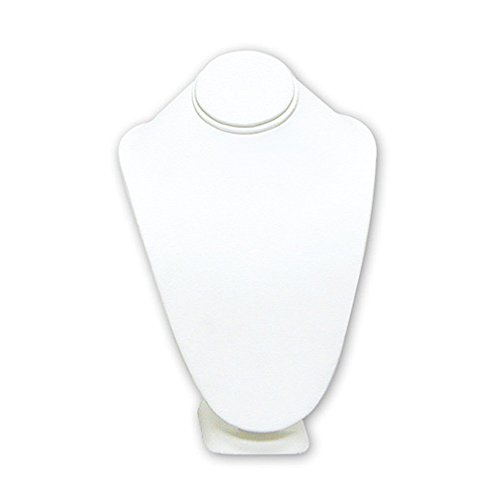 Mooca White Leatherette Jewelry Display Necklace Bust Neckform (Display Neckform)
