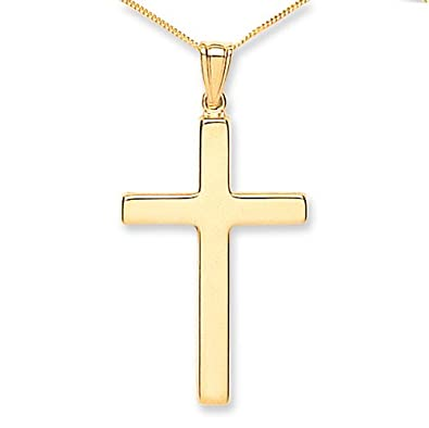 Tower jewellery unisex 9 ct yellow gold large plain cross pendant on tower jewellery unisex 9 ct yellow gold large plain cross pendant on chain of length 46 aloadofball Image collections