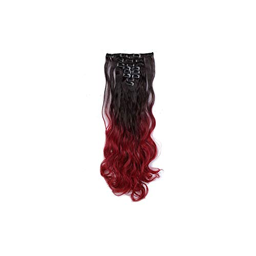 8pcs/set Wavy 18 Clips in False Hair Styling Synthetic Hair Extensions Hairpiece Extension hair for Human,193,24inches]()