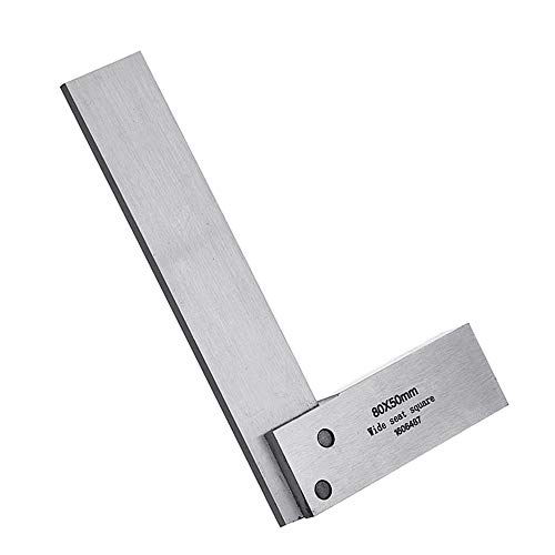 (Machinist Square Set Engineer 90 Right Angle Precision Ground Hardened Steel Angle Ruler 80x50mm)