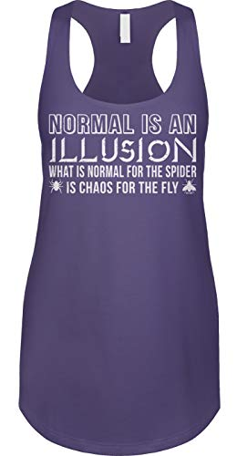 Blittzen Womens Tank Normal is an Illusion - Quote Saying, XL, Purple