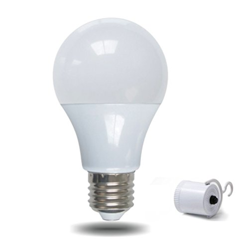 YJY Emergency Rechargeable LED Light Bulb with Build-in Battery for Hurricane Power Outage, Lampholder Hook for Camping Flashlight, 9W(60W Equivalent) E27 E26 120V 220V 6000K