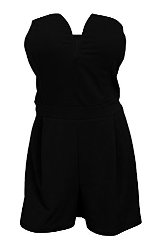 eVogues Plus Size Strapless Pleated Bust Romper Black - 1X