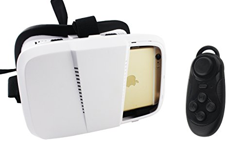 BEISTE 3D VR Glasses Headset 3D Movies and Games Display Competition,Suitable for Smart Phone within 4-6 inch Screen Whatever IOS or Android System (3d vr glass + gamepad)