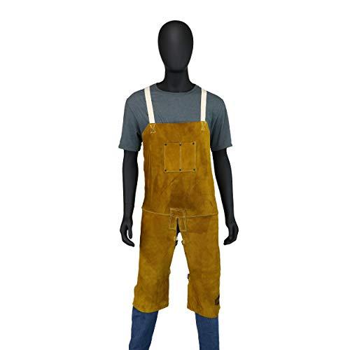 West Chester IRONCAT 7011 Heat Resistant Split Cowhide Leather Welding Split Leg Bib Apron, 24'' W x 48'' L by West Chester (Image #2)