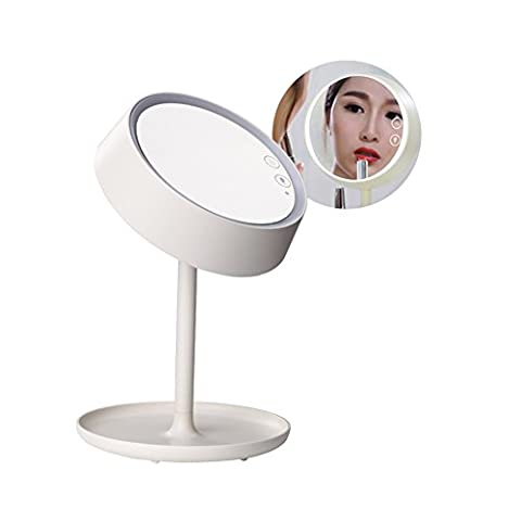 Huluwa LED Makeup Mirror Vanity Mirror with Table Lamp Cosmetic Table Night Light Multifunctional Mirror Desk Lamp, USB Rechargeable, White