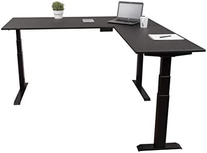 "promo code 46aa7 c8076 Triple Motor Electric L Shaped Desk/Standing Desk with EZ Assemble Frame |  Assembles in Minutes | Extra Weight Capacity (71"") (Black) (71"