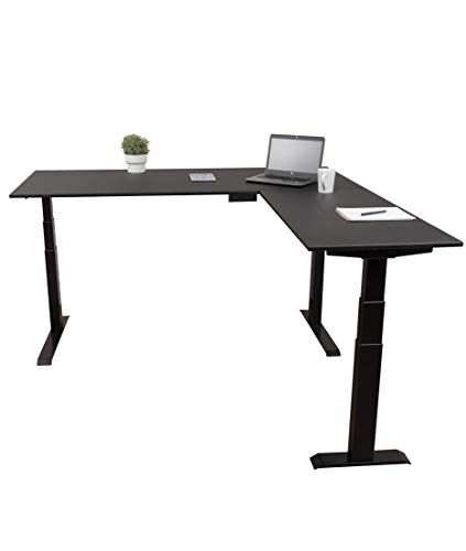"""Triple Motor Electric L Shaped Desk/Standing Desk with EZ Assemble Frame 
