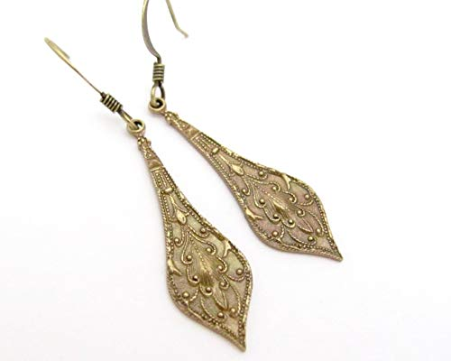 Art Nouveau Design Earrings Embossed Pendant Antiqued Brass Drop Dangle Dainty