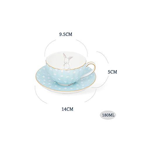 (White Dots Little Rabbit Ceramic Bone China Coffee Cup Saucer Set 180ml British Black Tea Milk Cup With Spoon,04)