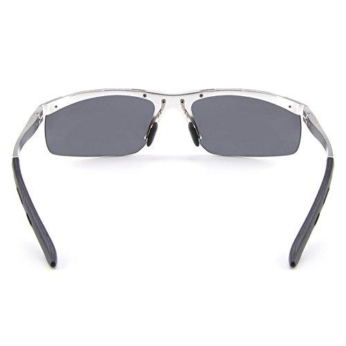Mujeres Unisex Cicongzai Polarizadas con Marco Gafas Gafas Gafas Silver Color Retro Moda Hombres Black 4pqxw5n6xC