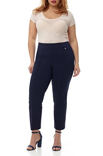 Rekucci Curvy Woman Slimming Plus Size Ankle Pant w/Tummy Control (14W,Navy) by Rekucci