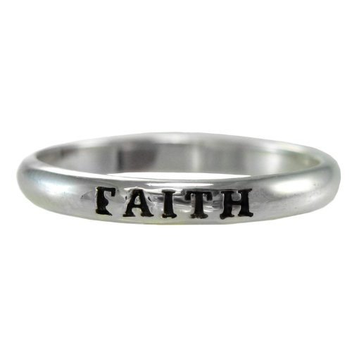 Ring Mens Faith (Sterling Silver Faith Spiritual Inspirational Ring for men or women (sz 4-15) sz 10)