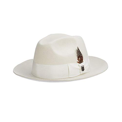 (STACY ADAMS Men's Cannery Row Wool Felt Fedora Hat, Ivory, Large)