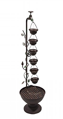 Metal 6 Hanging Cup Tier Layered Floor Fountain MAZ254