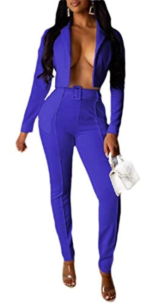 致命的不定テンションmaweisong レディースカジュアル2ピース衣装長袖 ソリッドブレザー パンツカジュアルエレガントなビジネススーツセット
