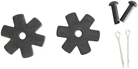 AJ Tack Wholesale Spur Rowels Replacement Set Pins Cotter Key Package 1 1/4 Inch Blunt 6 Point Black Steel