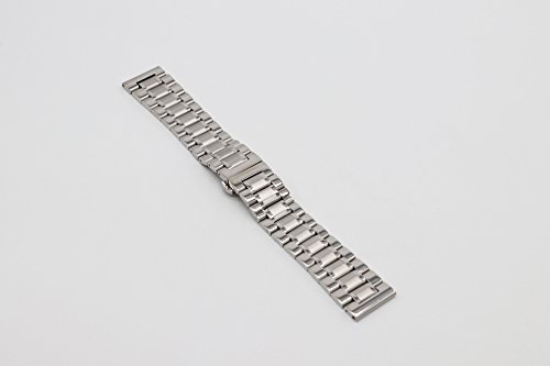 22mm Universal Curved End Metal Watch Band Solid 304 Stainless Steel Adjustable Silver SS Watch Strap by autulet (Image #1)