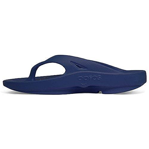 ac5f0a14b28a Oofos OOriginal Unisex Thong Sandal - Navy (Includes Bonus Red Foot  Massager Roller) 30