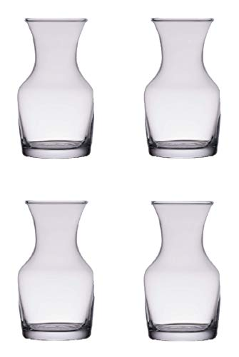 Single Serving Glass Wine Carafe 6.5 oz - Mini Decanters - Small Individual Carafes, set of 4 - w/coasters ()