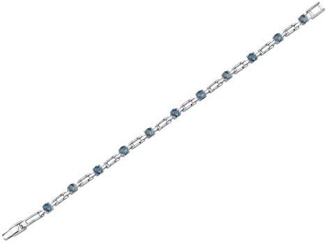 Peora London Blue Topaz Bracelet Sterling Silver 3.00 Carats Chic Design