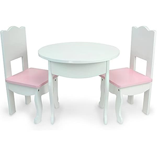 Amazon Com Sophia S Doll Table Chairs Set Fits American Girl Dolls And More White Doll Table Two Doll Chairs Set For A Doll Tea Party Doll House Furniture For American Doll