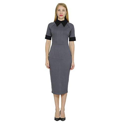 Marycrafts Womens Contrast Short Sleeve Collar Midi Dress Work Office