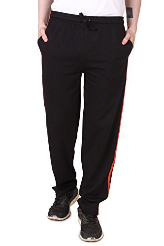 Aventura Outfitters Men's Single Jersey Trackpant With Two Red Stripes (Black)