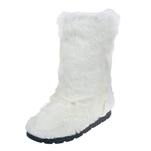 (White Goatling Fur Boots for Women, Eskimo, Snow Furry Mukluks, Yeti Boots, White Color Goatling Fur Boots, Long Boots, Gift for Her LITVIN)