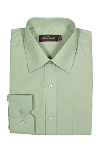 Alberto Danelli Men's Solid Long Sleeve Dress Shirt Pistachio, XXXXX-Large/ 21-21.5