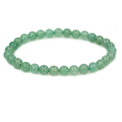 (Natural Green Aventurine Gemstone 6mm Round Beads Stretch Bracelet 7