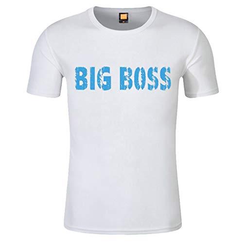 Men Simple Print T Shirt, Mens Short Sleeve Round Neck T-Shirt Top -
