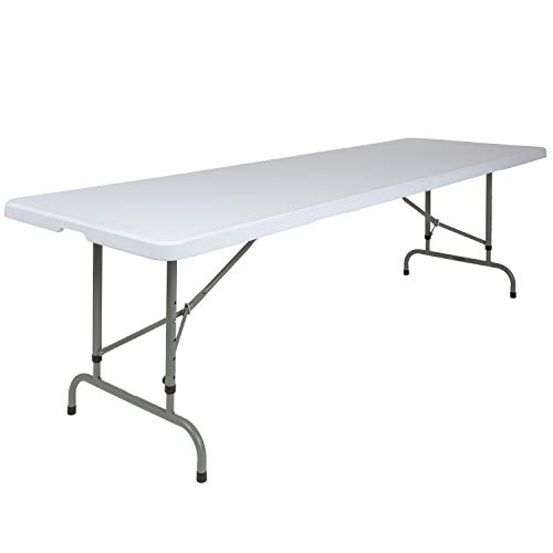 Flash Furniture 30''W x 96''L Height Adjustable Granite White Plastic Folding Table ()