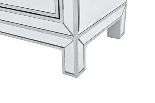 -6048 Nightstand with 1 Shelf 1 Door/Rectangle Mirror Top, 21