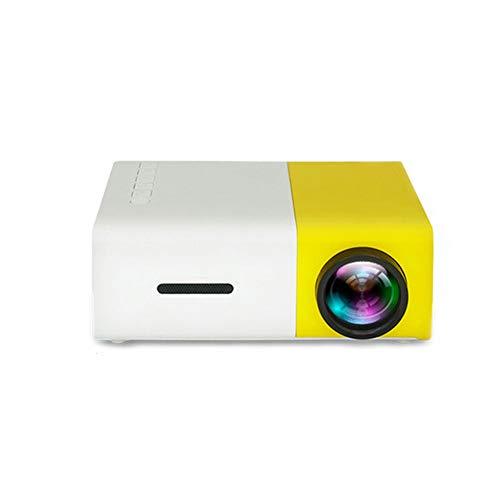 ZXGHS Tragbar Projektor, LED-Projektor 600 Lumen 3,5 Mm Audio 320X240 Pixel HDMI USB-Miniprojektor Home Media-Player,Gelb