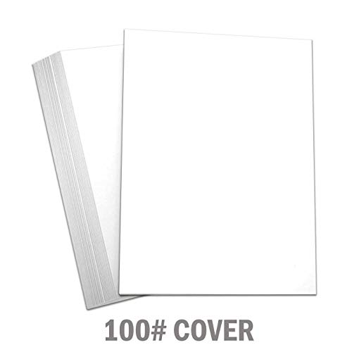 Hamilco White Cardstock Thick Paper - 8 x 10 Blank Heavy Weight 100 lb Cover Card Stock - for Brochure Award and Stationery Printing - 50 Pack