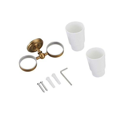 - MonkeyJack Bathroom Antique Brass Toothbrush Holder W/ Two Ceramic Cups Wall Mounted