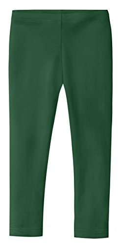 City Threads Girls' Leggings 100% Cotton for School Uniform Sports Coverage or Play Perfect for Sensitive Skin or SPD Sensory Friendly Clothing, Forest Green, -
