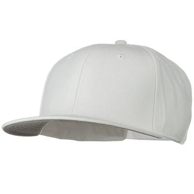 Wool Blend Flat Visor Pro Style Snapback Cap - White