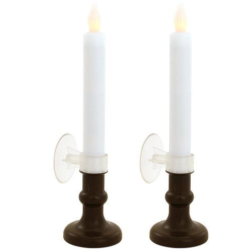 Set of 2 Tapered Flameless Candles, Bright Flickering Amber LED and 6 Hour Timer.