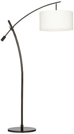 Bronze Boom Arc Floor Lamp With Linen Shade Amazon Com