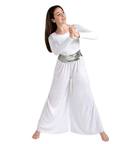 Body Wrappers BT4 Praise Dance Sequin Cummerbund (X-Small / X-Large, Silver)